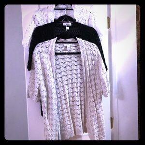 3 sweater cardigans . Cream -black -beige l and xl